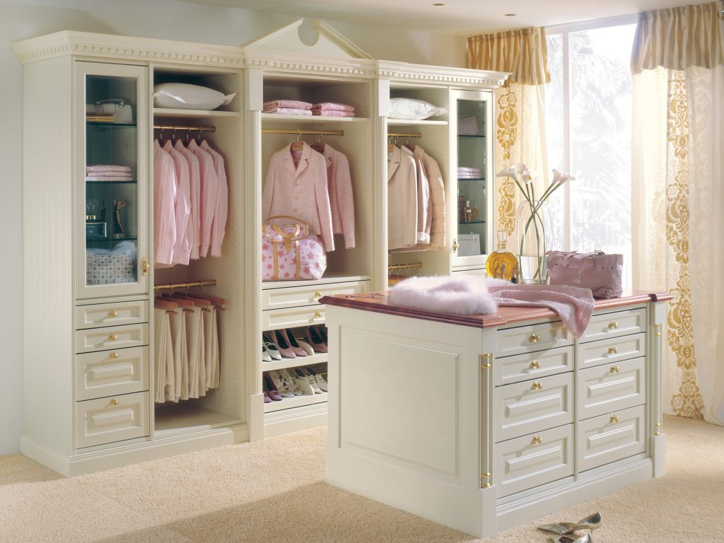 Ladies White Cabinet Wood Walk In Closet