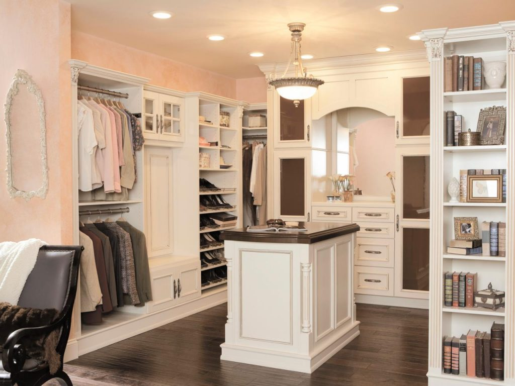 Mens Handsome White wood Walk In closet with island