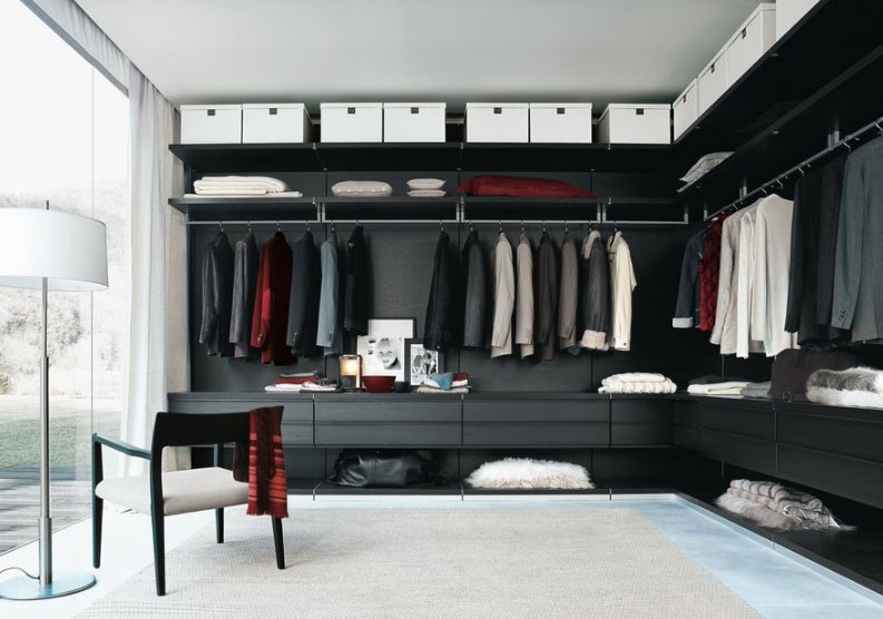 Mens Sexy Black Walk in Modern Closet