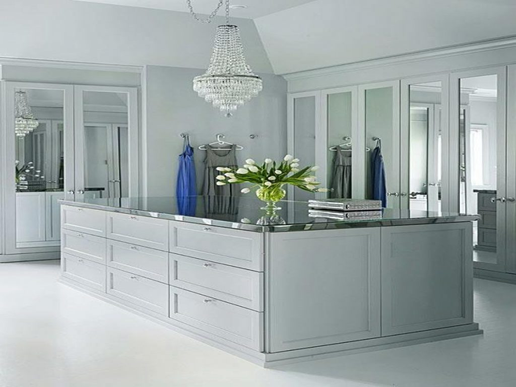 elegant gray dressing room style custom closet design