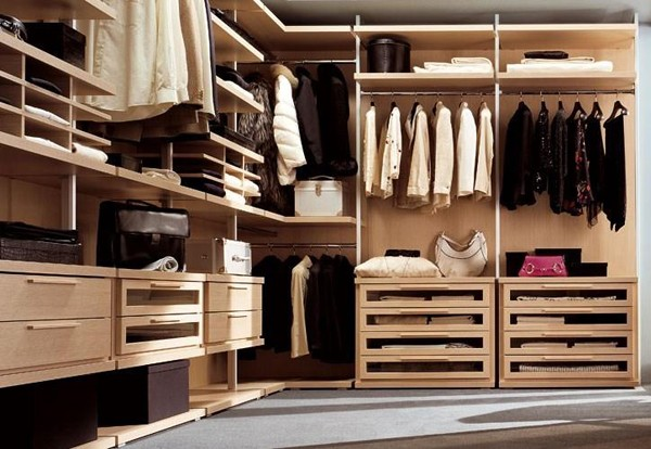light wood walk in closet
