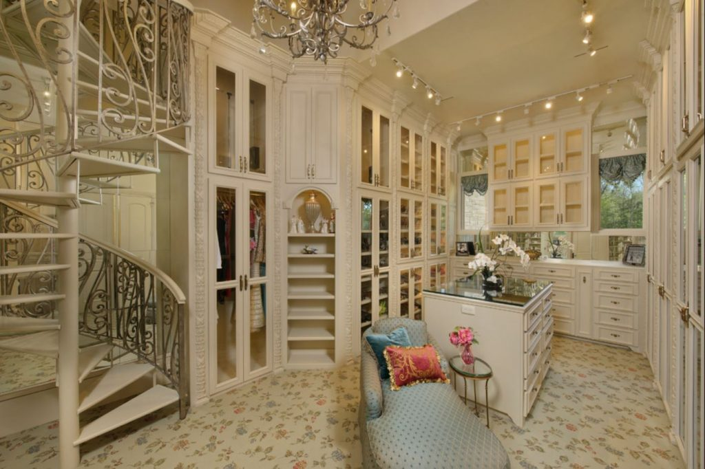 luxury off white dressing room lounge style custom closet design