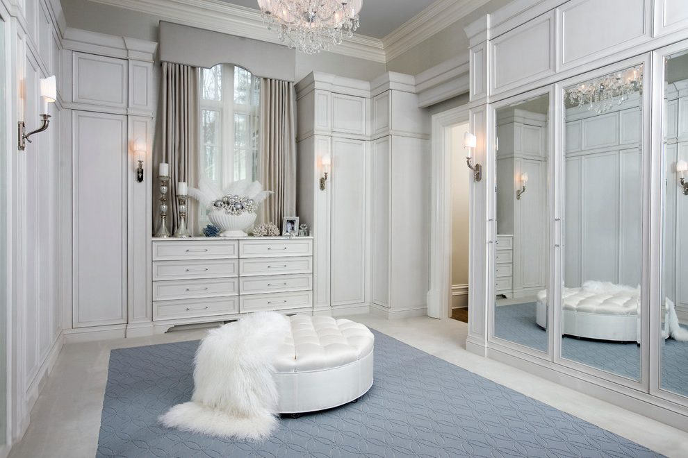 luxury white custom dressing room lounge style custom closet design